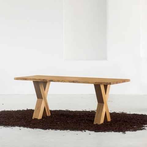 Bauholz Tisch Schweizer Kante Gratleiste | Bauen mit holz